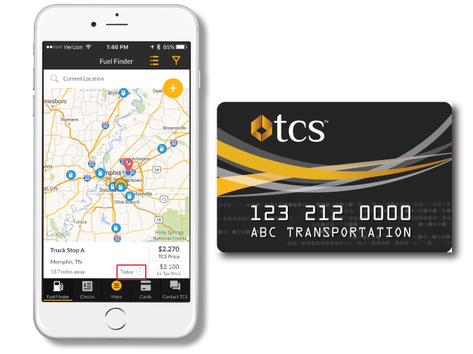TCS Mobile App & Fuel Card for trucking companies